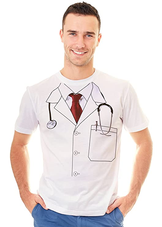 Retreez Funny Doctor Uniform Costume Lab Coat Graphic Printed Unisex Men/Boys/Women T-Shirt Tee - White - Medium