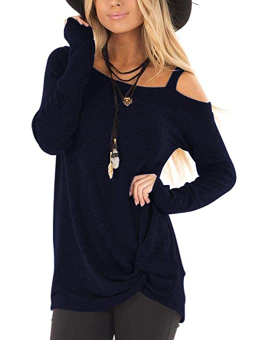 ZILIN Women's Cold Shoulder T-Shirt Long Sleeve Knot Twist Front Tunic Tops (Navy, S)