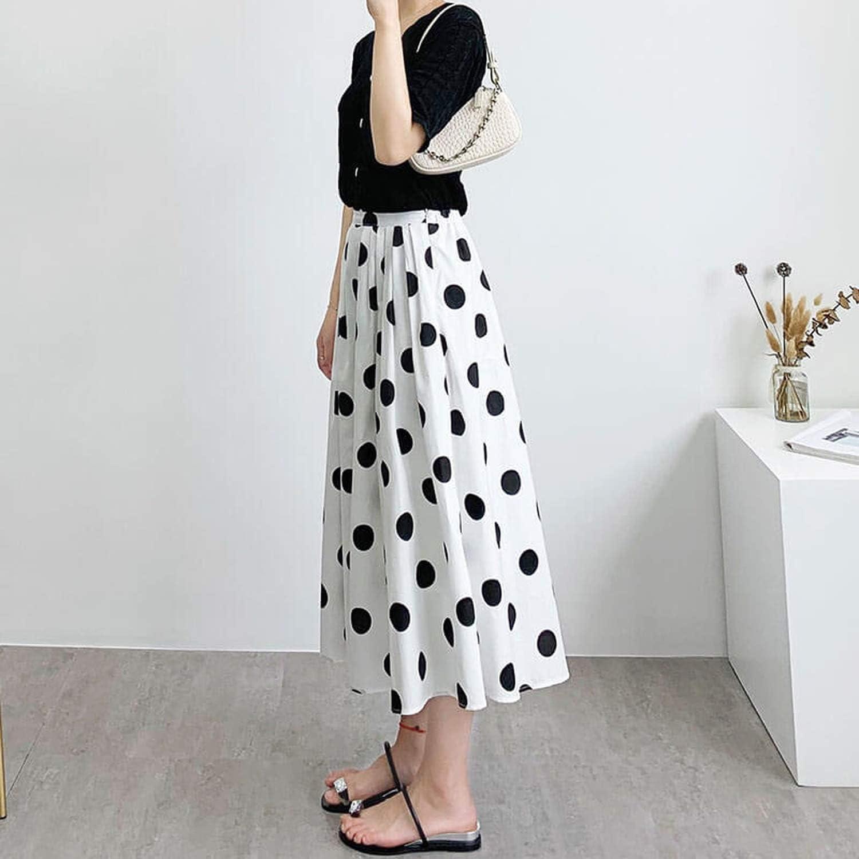Gonne EMP-Wang 2020 Donna Moda Lady Bianco Vita Alta Cotone Dot Spiaggia Cielo