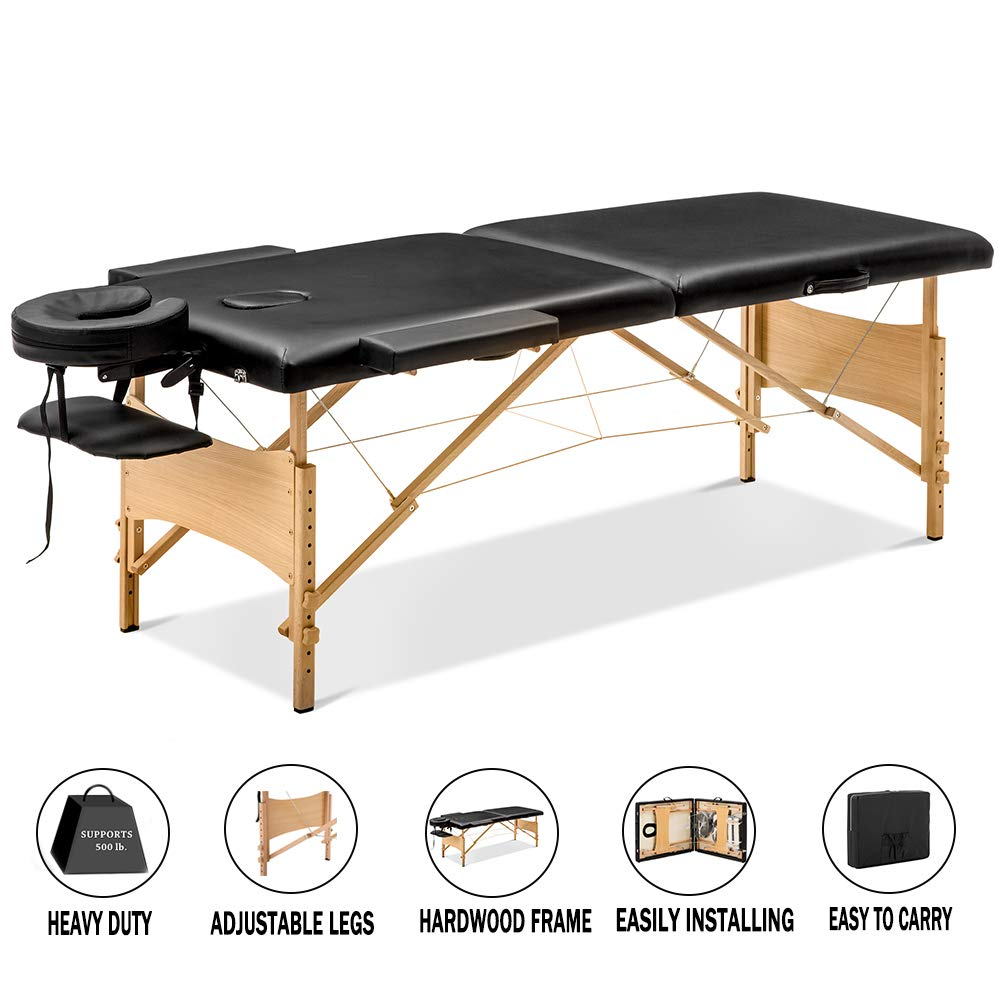 Portable Massage Table, 84'' Foldable Table, Height Adjustable Facial Bed, Wooden 2 Section Right Angle Massage Bed with Headrest, Face Cradle, Face Pillow, 2 Armrest, Carry Case, Holds 500 lbs, Q3829 by URHOMEPRO