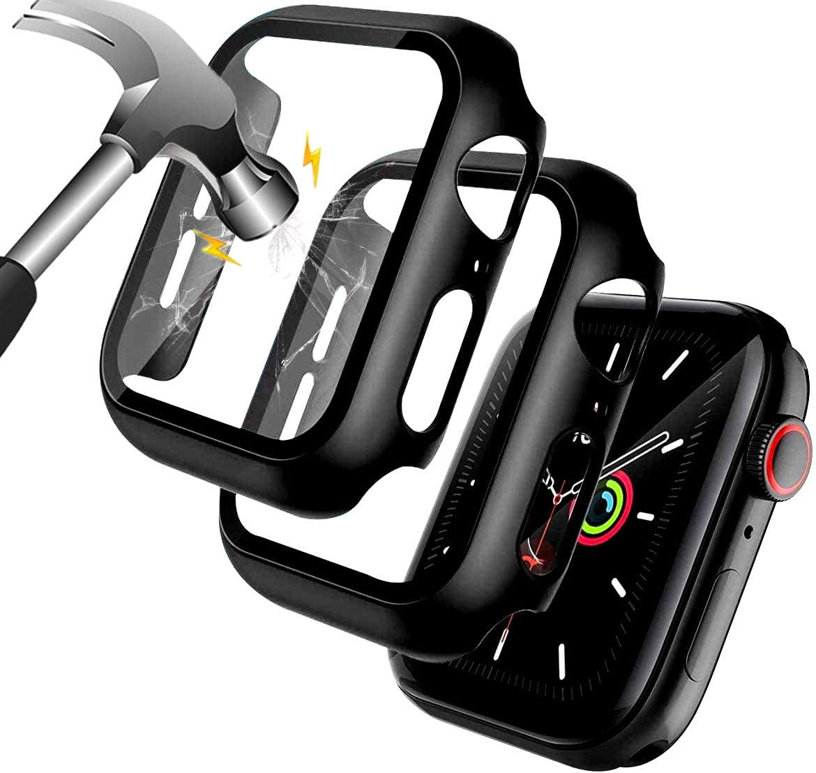 [2 Pack] Screen Protector Compatible for Apple Watch Series 6/5/4/SE 44mm, EzonEZoff Black Case with Tempered Glass Screen Protector, Full Protection Bubble-Free Cover for iWatch 44mm Series 6/5/4/SE
