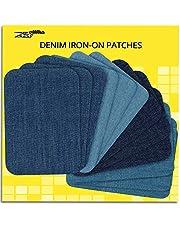 ZEFFFKA Hoogwaardige kwaliteit jean-stickers om op te strijken voor binnen en buiten, sterkste lijm, 100% katoen, verschillende blauwe tinten, reparatieset, 12 stuks, afmeting 7,5 cm x 10,5 cm