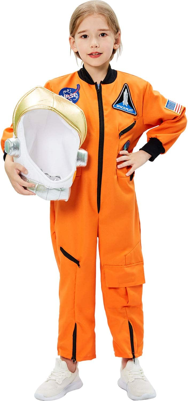 Tacobear Disfraz Astronauta Niño con Casco Astronauta Juego de Roles para Halloween Astronauta Cumpleaños Cosplay Disfraces para Niños Niñas (M, 8-10 Años)