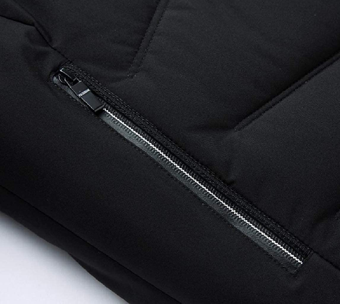 Mfasica Mens Trim-Fit Thicken Zipper Stand Collar Outwear Keep Warm Brumal Down Coat