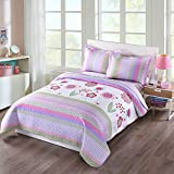 quilt set girls - MarCielo 3 Piece Kids Bedspread Quilts Set Throw Blanket for Teens Girls Bed Printed Bedding Coverlet, Full Size, Purple Floral Striped (Full)