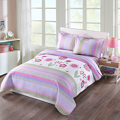 MarCielo 3 Piece Kids Bedspread Quilts Set Throw Blanket for Teens Girls Bed Printed Bedding Coverlet, Full Size, Purple Floral Striped (Full)