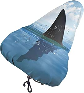 Shark Fish Fin Over The Sea Surface Novelty Waterproof Bike Seat Rain, Sun & Dust Cover for Bike Saddles, Water Proof Bicycle Protective Saddle Covers for Spin Stationary Cruiser Bike Outdoor Cycling