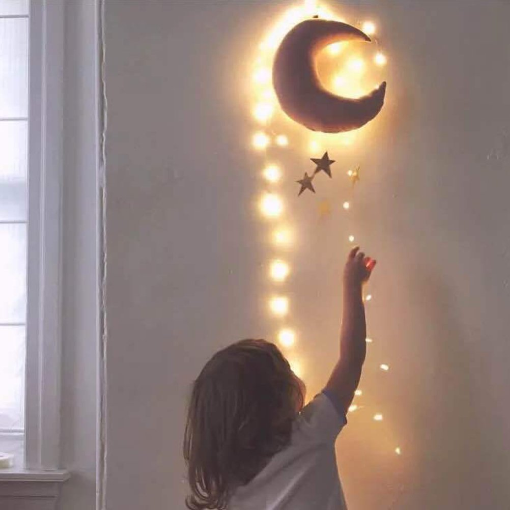 Pink Moon and Golden Stars VORCOOL Nursery Ceiling Mobile Moon Stars Hanging Decorations for Baby Shower Baby Nursery Room