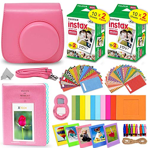 Fitted Case Fujifilm - Fujifilm Instax Mini Instant Film (2 Twin Packs, 40 Total Pictures) + Flamingo Pink Fitted Case for Instax Mini 9 Instant Camera, Assorted Colorful Stickers/Frames, Photo Album + More