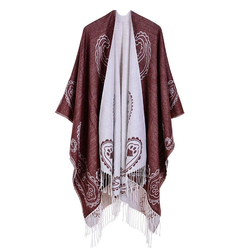 Brown Women Lady Girl Women's Printed Tassel Open Front Poncho Cape Cardigan Wrap Shawl Party Lightweight Scarf (color   Red)