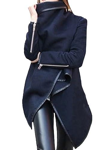 Azbro Mujer Abrigo Trenca de Solapa Asimetrica Mangas con Cremallera