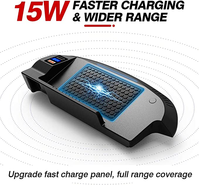 15W Qi Wireless Schnell-ladeger/ät mit QC3.0 USB und 18W PD f/ür iPhone 12//11//XS//X//8 Samsung S20//S10//S9 Braveking1 Upgrade Kabelloses Ladeger/ät Auto f/ür Ford Mustang 2015 2016 2017 2018 2019 2020 2021