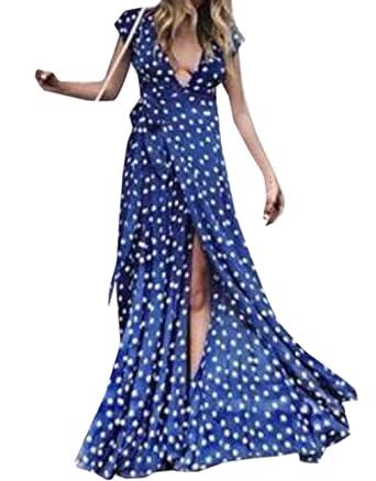 Sommer Damen Lange Kleid mit Bandagen Mode Gepunktet Kleid Strandkleider  Sexy Tief V Ausschnitt Kurzarm Kleider Maxikleid Partykleid Abendkleider   ... aaf2614c49