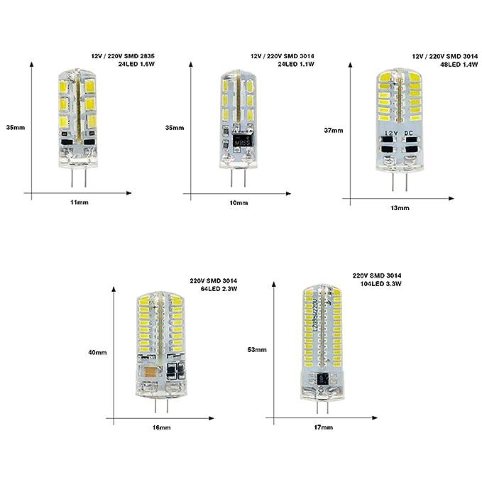 LED G4 3014 SMD 3W 5W DC 12V G4 LED Lamp 20W Halogen lamp g4 led 12v Corn Bulb Silicone Lamps Cold White - - Amazon.com