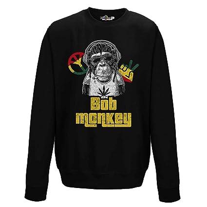 KiarenzaFD - Sudadera Gargantilla música Bob Monkey Marley Negro Paz Amor Rasta Auriculares, KFG02277-