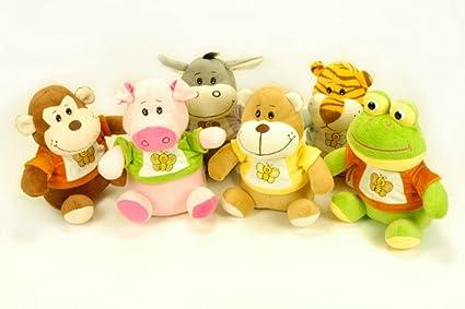 CAPRILO Lote de 12 Peluches Infantiles Decorativos Animales Surtidos en diferentes Colores. Juguetes Infantiles.