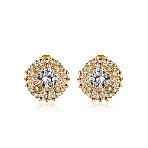 a61648d99 Image Unavailable. Image not available for. Color: 14K Gold Plated 1CT  Round Cut Hola Cubic Zirconia Stud Earrings ...