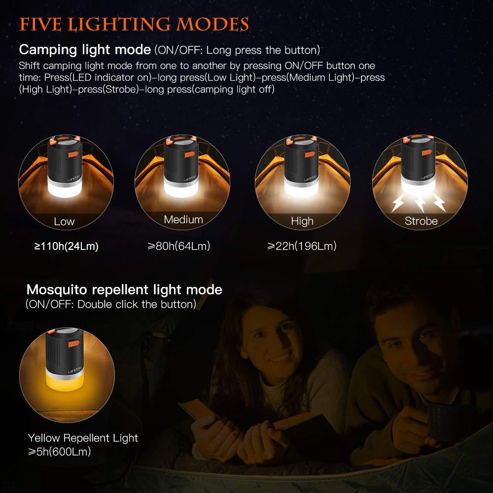 schwarz 3-in-1 wasserdichte LED wiederaufladbare Laterne 12800 mAh Powerbank Outdoor-Zelt-Licht f/ür Wandern lanktoo Camping-Laterne 5 Beleuchtungsmodi M/ückenabwehr-Lampe Angeln und Notf/älle