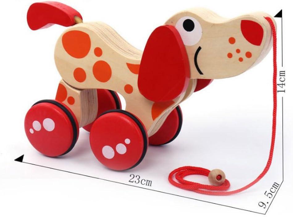tracteur de chien TOYMYTOY Jouet /à Tirer Chien en bois Jouet Traction Chien