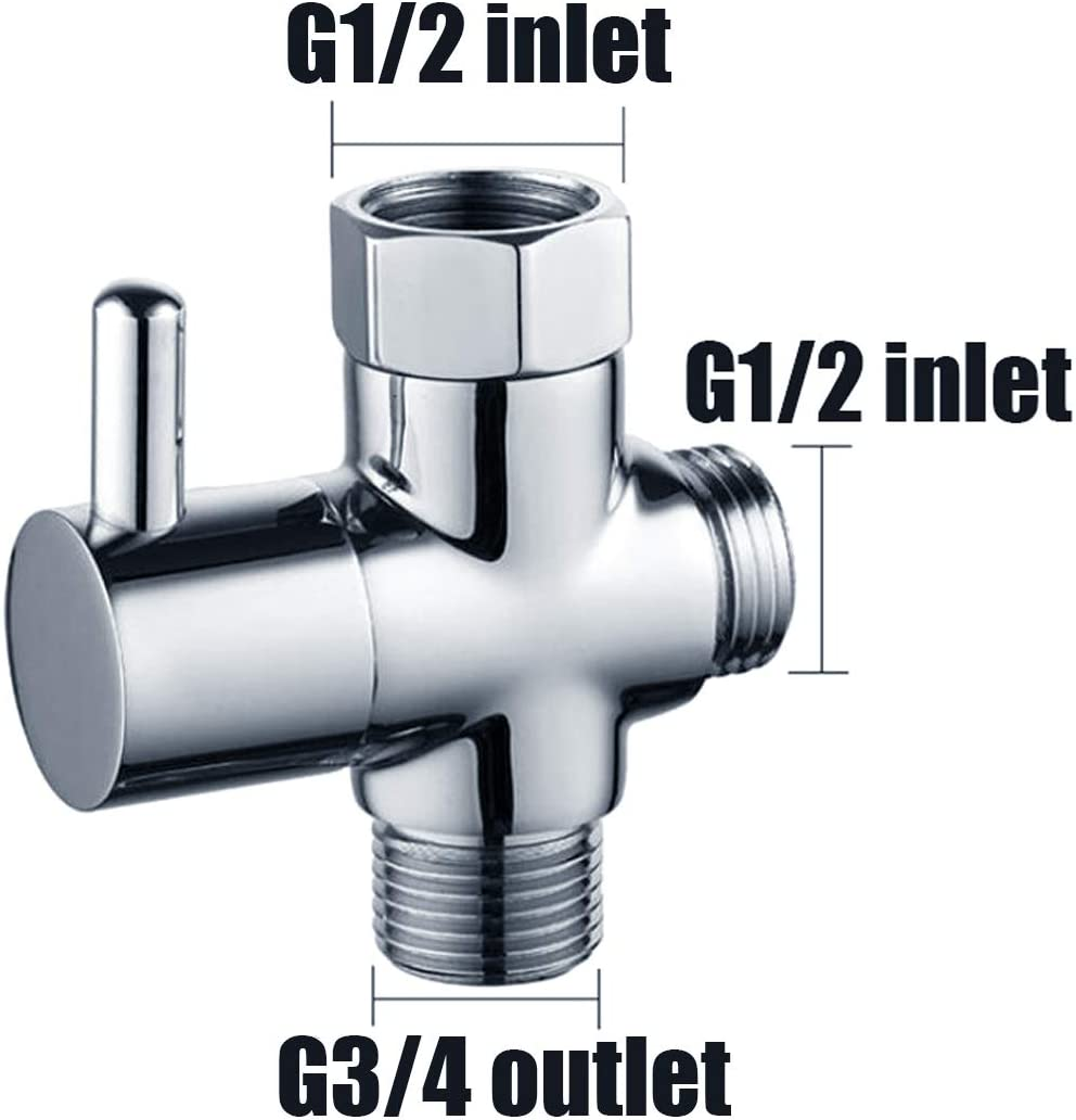 Chrome Plated Brass Metal Shower Arm Diverter for Hand Held Showerhead and Fixed Spray Head Yootop Shower Head Diverter Valve with Dual G1//2 Inlet to G3//4 Outlet