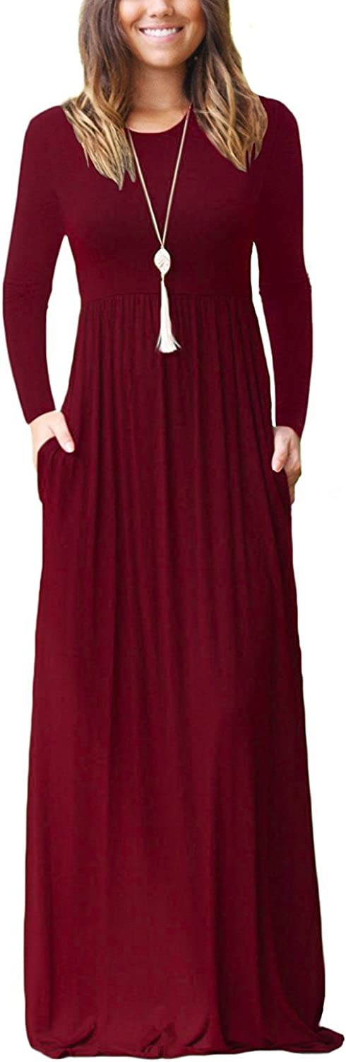 Women Long Sleeve Loose Plain Plus Size Casual Long Dresses with Pockets