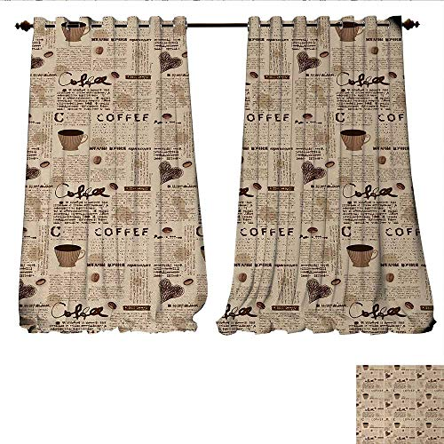 Candle Mini Coffee Blend Cup - Patterned Drape for Glass Door Newspaper Nostalgic Background with Coffee Cups and Writing Art Print Waterproof Window Curtain W96 x L108 Sand Brown and Umber