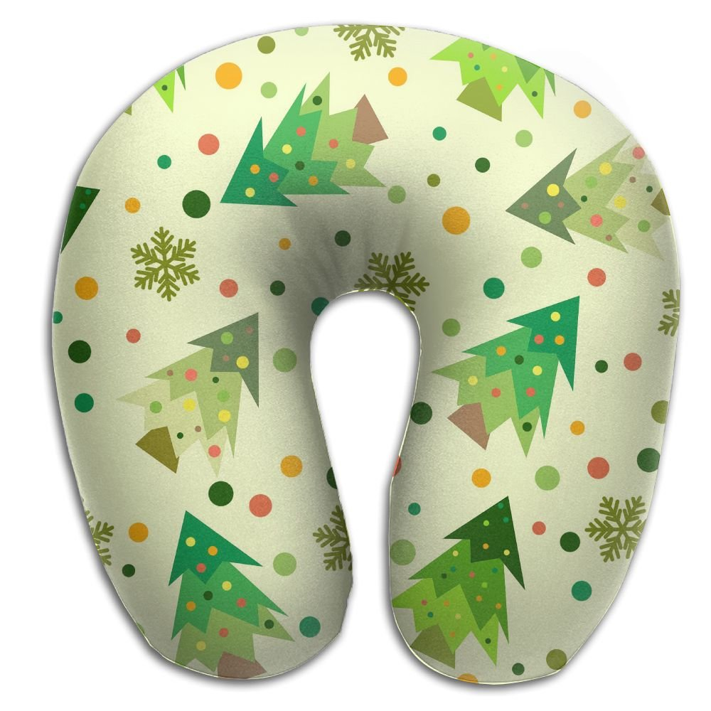 Laurel Neck Pillow Christmas Tree Painting Travel U-Shaped Pillow Soft Memory Neck Support for Train Airplane Sleeping