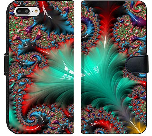 Apple iPhone 8 Plus Flip Fabric Wallet Case Image of Background Fractal Abstract Illustration Texture Wallpaper Digital Art Color Light Fantasy Design Blue p