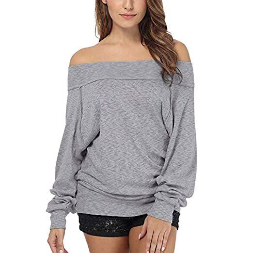 2aba00bc92f011 Amazon.com  FEITONG Women s Dolman Sleeve Off The Shoulder Sweater Shirt  Tops  Clothing