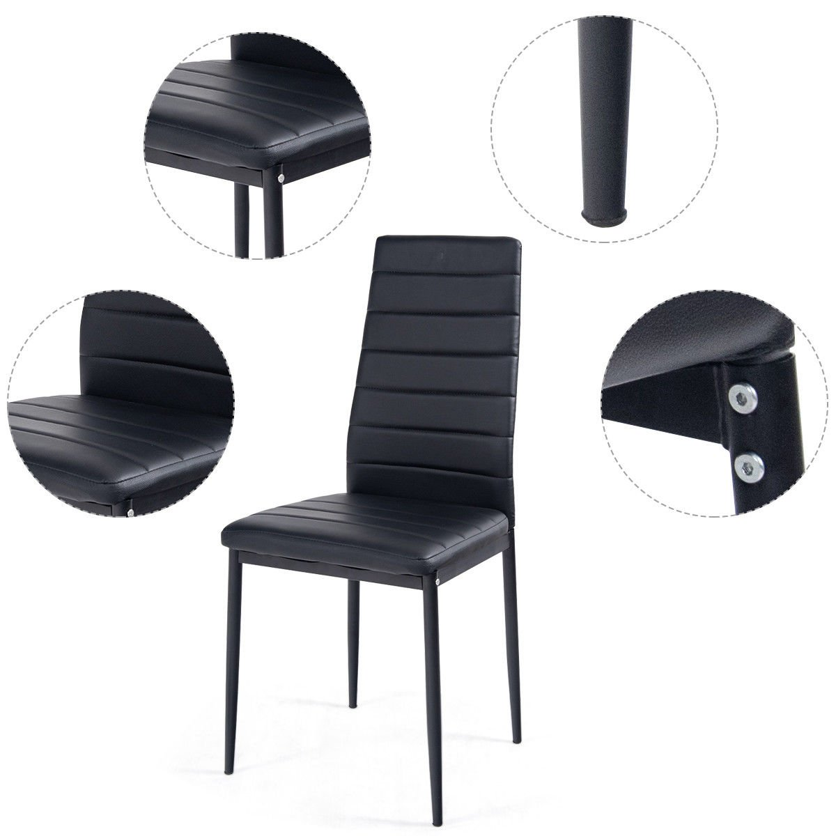 Tangkula 5 PCS Dining Table Set Modern Tempered Glass Top and PVC Leather Chair w/4 Chairs Dining Room Kitchen Furniture (Black) by Tangkula (Image #5)