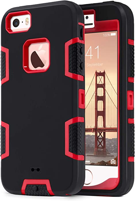 ULAK iPhone SE Case,iPhone 5S Case, iPhone 5 Case, Knox Armor Heavy Duty Shockproof Sport Rugged Drop Resistant Dustproof Protective Cover for Apple iPhone 5 5S SE, Red+Black (Not fit iPhone SE 2020)