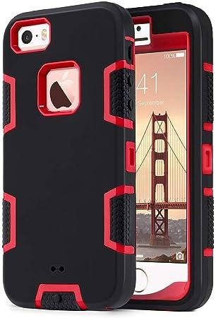 ULAK iPhone 5S Caso, iPhone SE Funda Carcasa 3in1 húmedo Combo híbrido rígido rígido PC + Suave Funda Protectora de Silicona para iPhone SE / 5S / 5 ...