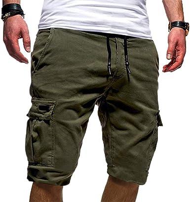 Bermuda Uomo Con Tasconi Pantaloncino Cargo Con Elastico in Vita Pantalone Corto