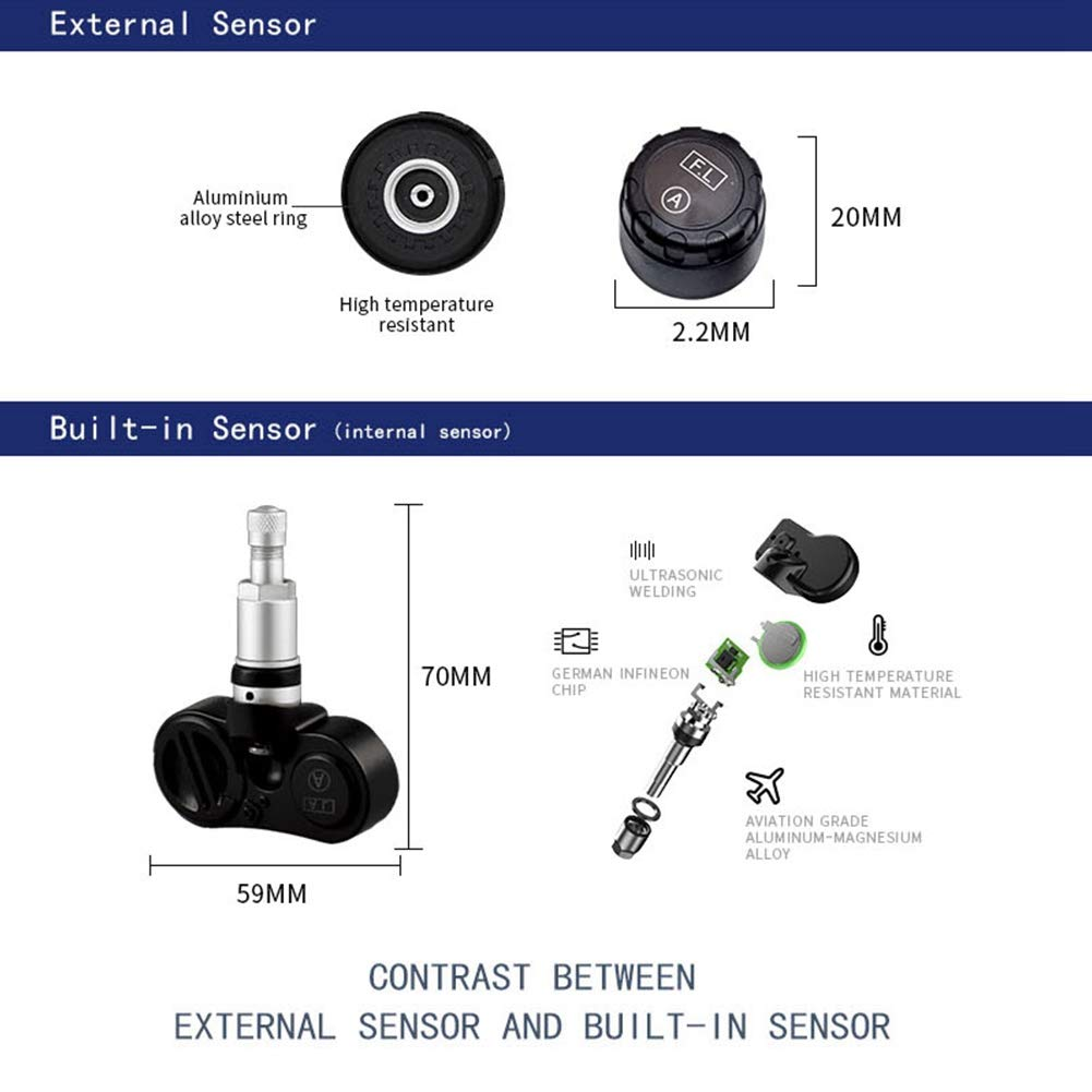 Akozon C-220 TPMS Sistema de Monitoreo Control de Presi/ón de Neum/áticos Inal/ámbrico Universal Energ/ía Solar LCD con 4 Sensores Internos Tiempo Real Medidor de Presi/ón y Temperatura