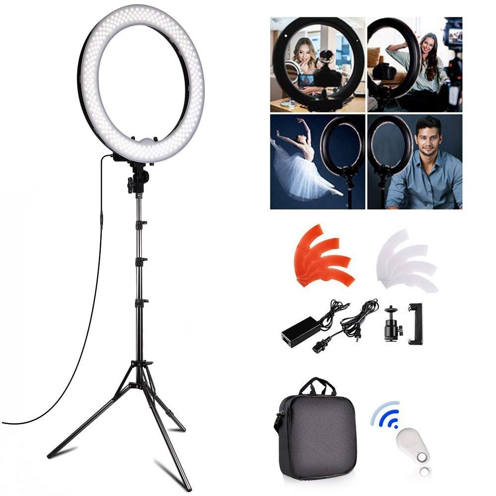 FOSITAN 18 inch LED Ring Light Kit, 18 inches/48cm Outer 55W 5500K Dimmable 240 LED Ring Lighting Kit with 2M Light Stand Work with Smartphone and SLR Camera for YouTube, Makeup, Videographer by FOSITAN