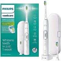 Philips Sonicare ProtectiveClean 6100 电动牙刷 带旅行牙刷盒 3 种清洁模式,3种强度&附赠牙刷头 - 白色(英国 两孔浴室插头)- HX6877/29