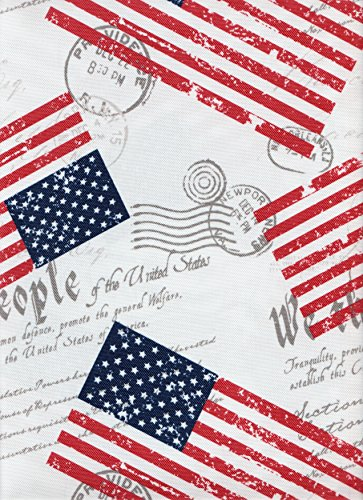 Red White Blue Stars Stripes USA Flag We the People Constitution Script Postmark Fabric Tablecloth - 60in. x 84in.