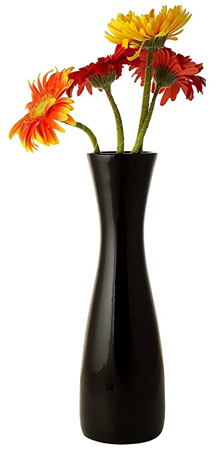 199 & Woodenclave Black Ceramic Flower Vase Pot Sleek Flower Vase Pot for Home and Office