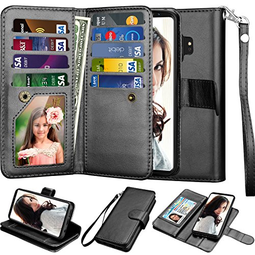 Njjex Galaxy S9 Case, for Samsung Galaxy S9 Wallet Case, PU Leather [9 Card Slots] ID Credit Magnetic Folio Flip Cover [Detachable] [Kickstand] Phone Case & Wrist Lanyard for Samsung S9 [Black]