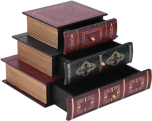 Meiyya Joyero Retro de la Forma del Libro, Organizador del ...