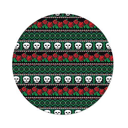 (iPrint Polyester Round Tablecloth,Skulls Decorations,Mexican Folk Art Skulls and Roses Knitted Pattern,Dining Room Kitchen Picnic Table Cloth Cover,for Outdoor)