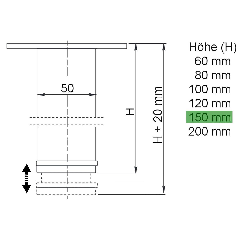 Set de 4 x SO-TECH/® Pata de MuebleJIM Cromado /Ø 50 mm Alto 150 mm Capacidad de Carga muy Alta