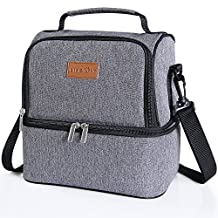 Lifewit Insulated Lunch Box for Adults / Men / Women / Kids, Thermal Lunch Bag , Cool Bento Bag for Office / School / Picnic, 7L, Dual Compartment, Grey
