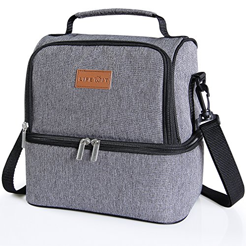 Lifewit Insulated Lunch Box for Adults / Men / Women / Kids, Thermal Lunch Bag , Cool Bento Bag for Office / School / Picnic, 7L, Dual Compartment, Grey (Box Lunch)