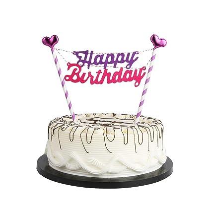 Amazon YUINYO Purple Love Happy Birthday Cake Bunting Banner