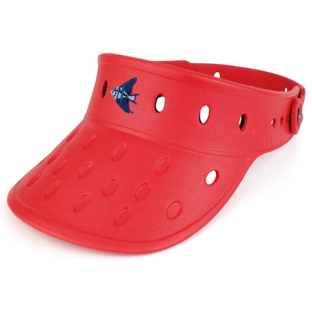 Trendy Apparel Shop Durable Adjustable Floatable Foam Visor Hat With Angelfish Snap Charm VZ-ANGELFISH-BLK