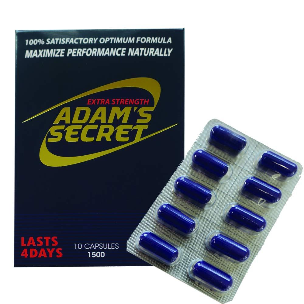 Adams Secret 1500 100% Natural Pills for Men Boost Your Performance, Energy, and Endurance 10 Pills Per Pack with Adam's Secret Original Inner Seal by ADAM'S SECRET