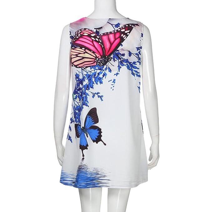 Minisoya Women Summer Boho Beach Sundress Casual Loose Vintage Sleeveless 3D Butterfly Floral Short Mini Dress - White - XX-Large: Amazon.co.uk: Clothing