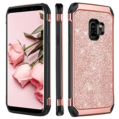 Galaxy S9 Case, BENTOBEN 2 in 1 Luxury Glitter Bling Hybrid Slim Hard PC Cover Laminated with Sparkly Shiny Faux Leather Chrome Shockproof Protective Phone Cases for Samsung Galaxy S9 Rose Gold
