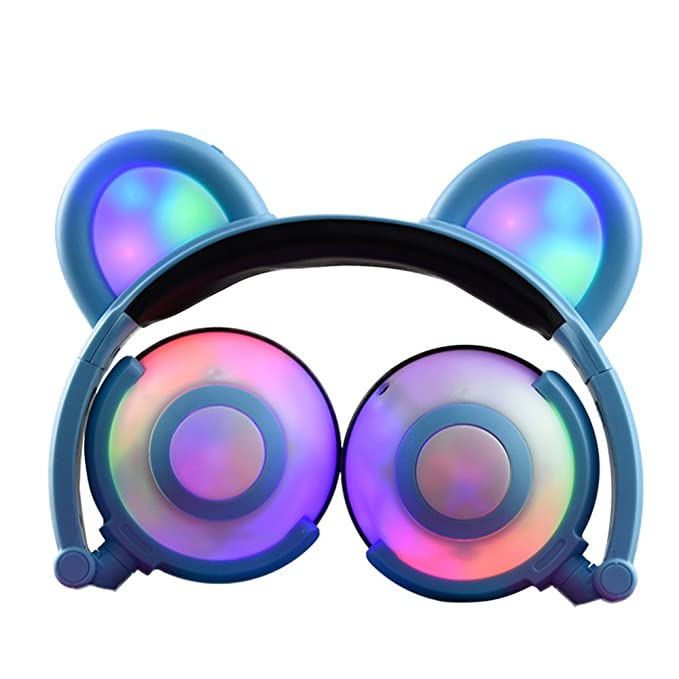 Gzcrdz Kids Headphones Bear Ear Inspired Usb Rechargeable Led Backlight,Wired On/Over Ear Gaming Headsets 85d B Volume Limited For Girls,Boys,Compatible For Kids Tablet,I Pad,I Phone,Android,Pc (White) by Gzcrdz